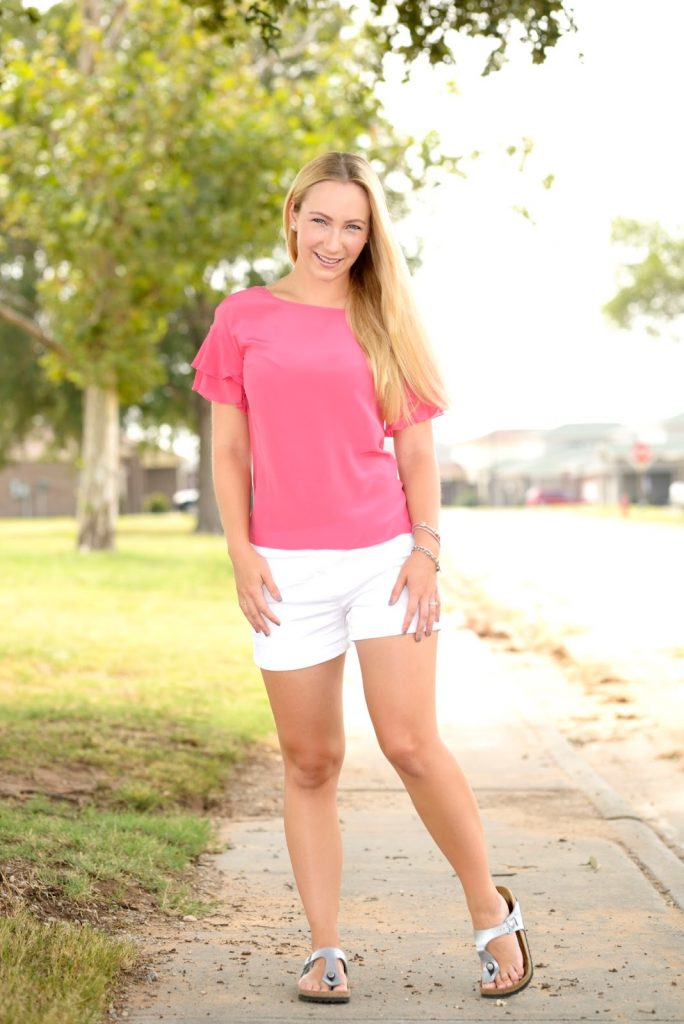 Outfit: Pink Lace and White Shorts