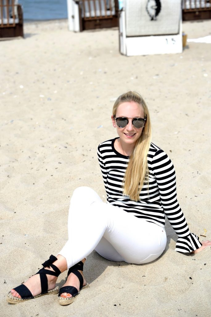 White-striped Shirt with Bell Sleeves from Dezzal.com