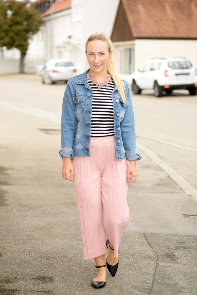 Pleated Pink Culottes & Denim Jacket
