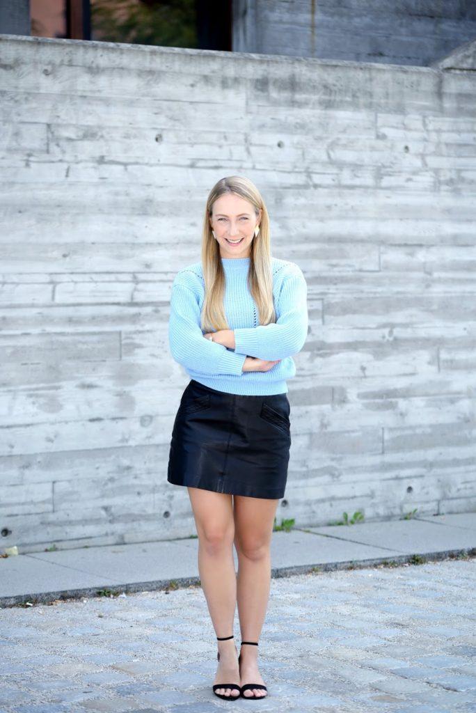 zaful babyblue sweater x zara leather skirt the kontemporary