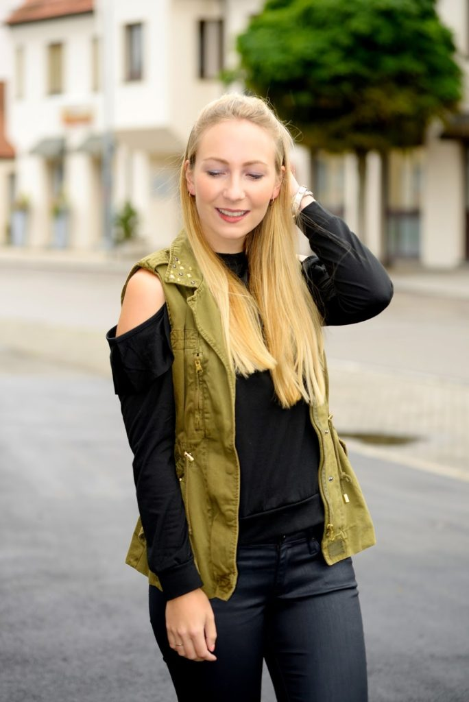Romwe Ruffle Offshoulder x Zara Vest x AG Jeans