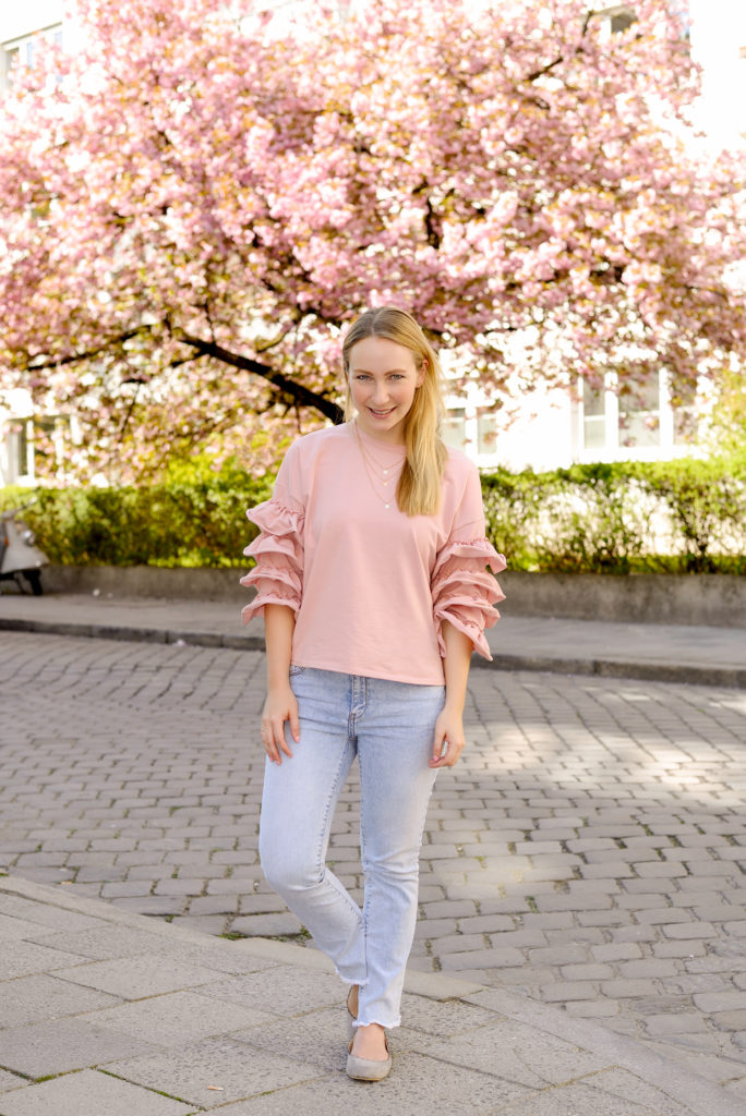 Cherry Blossom SheIn Bell Sleeves Sweater