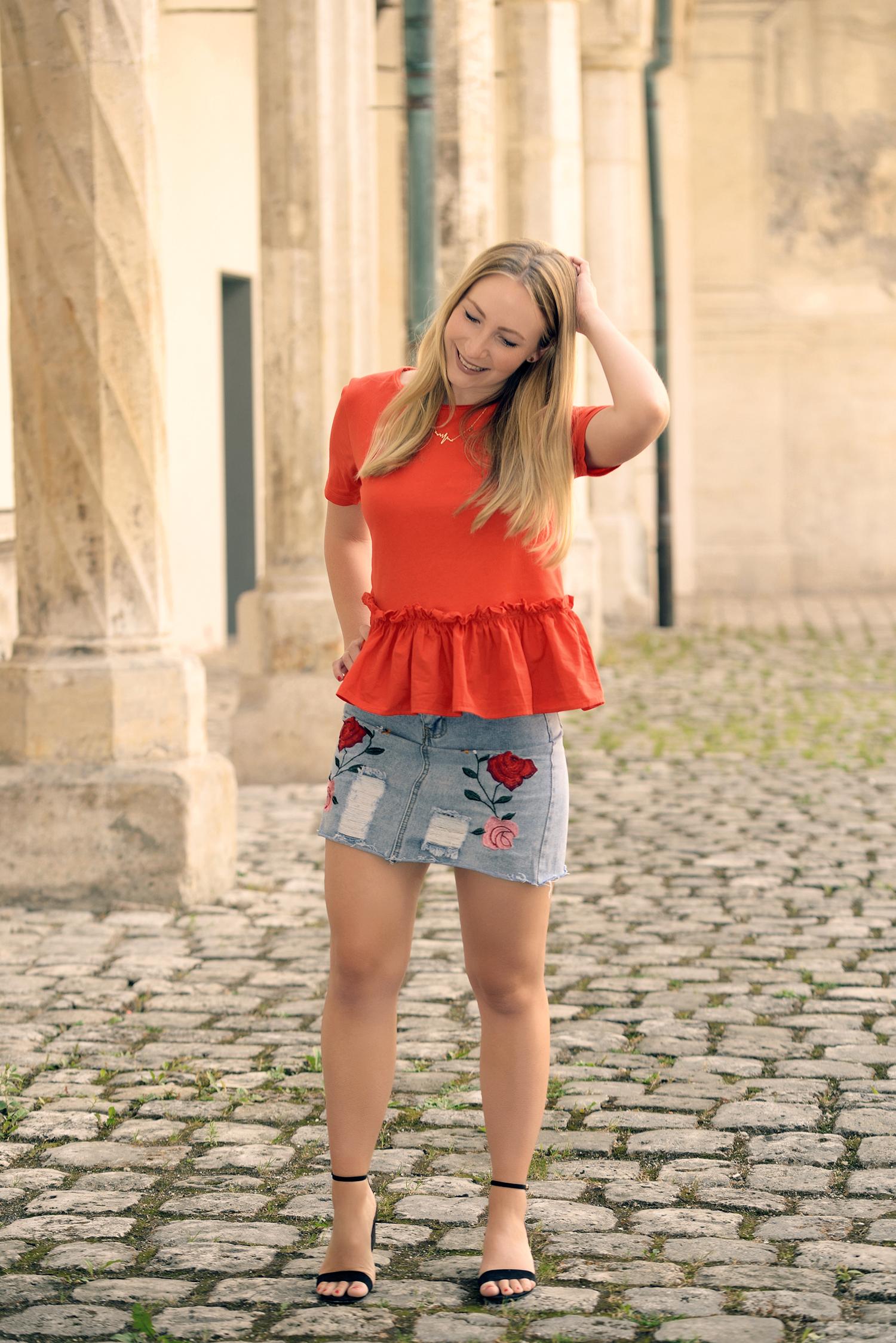Rosegal Embroidered Denim Skirt