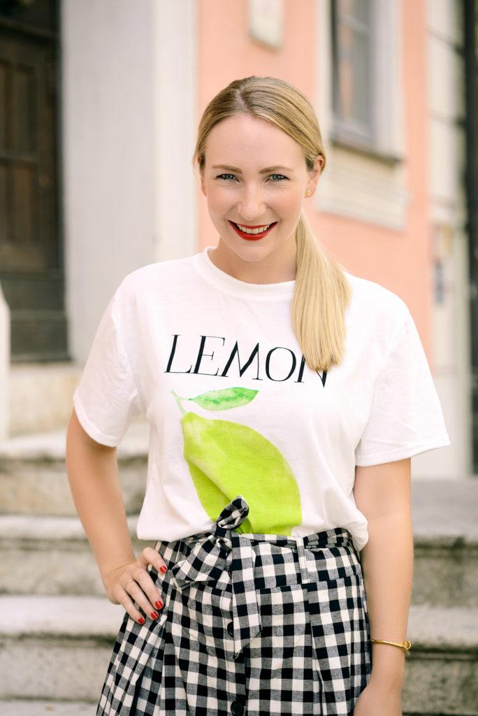 Zaful Gingham Skirt & Lemon Shirt