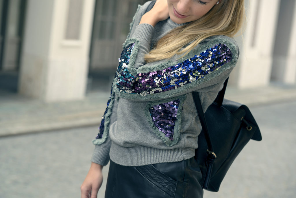 Sequins & Leather: My first Outfit for Fall