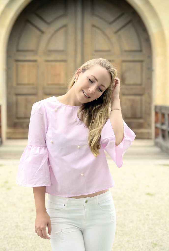 SheIn Pink Blouse with Pearls & White Denim