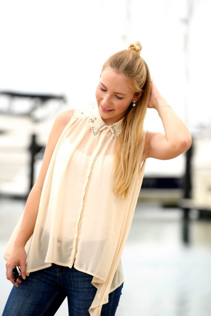 Transparent Blouse, Lace-Up Ballerinas and the Chicago Marina
