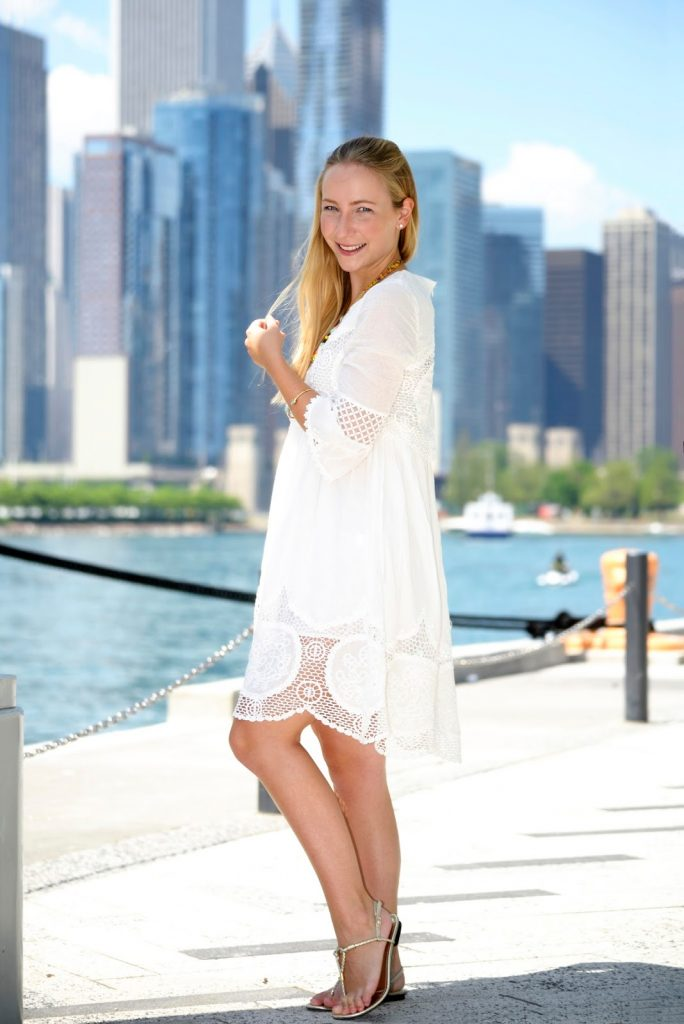 White Summer Dress at Chicago's Navy Pier