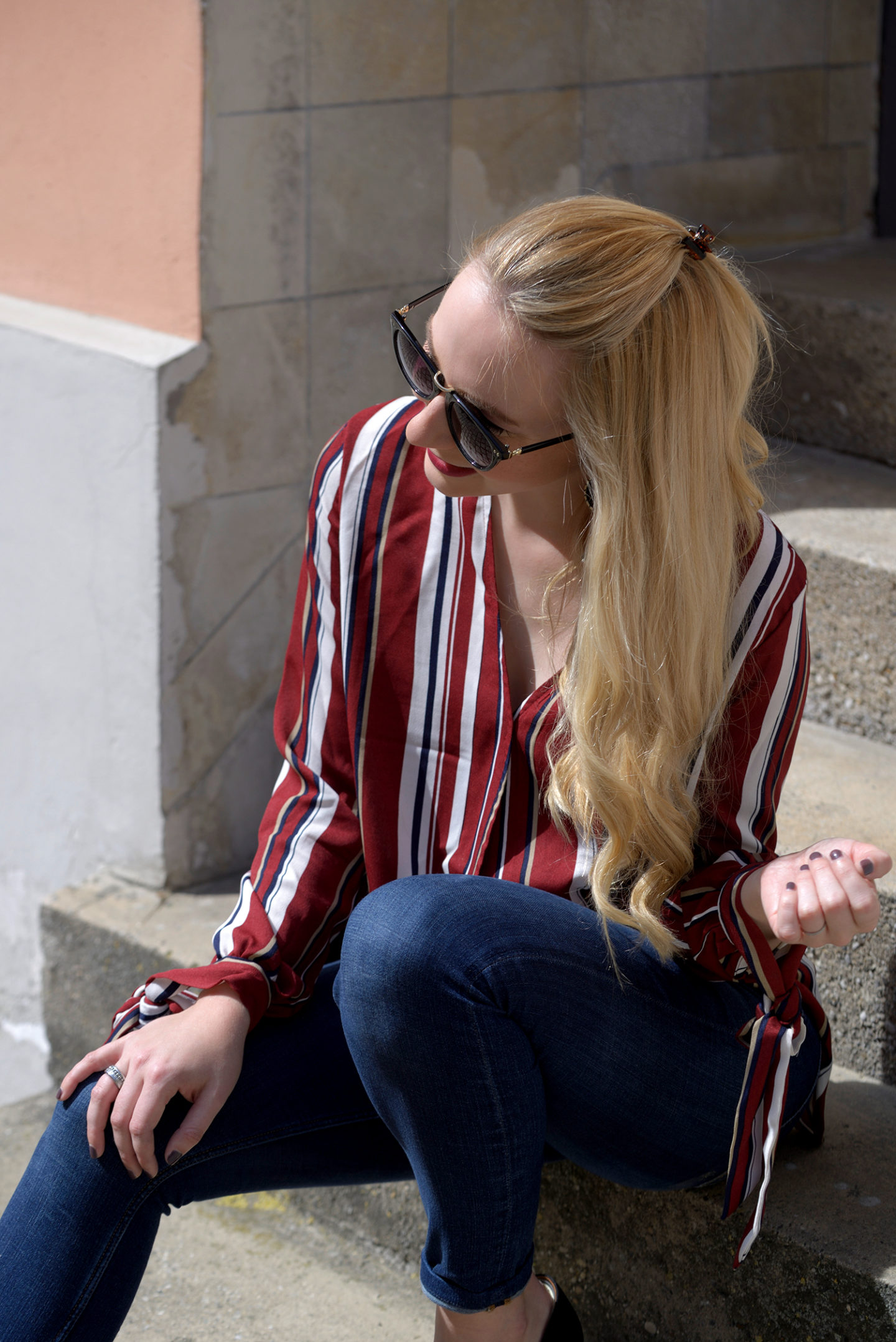 SheIn Striped Blouse in the Sun